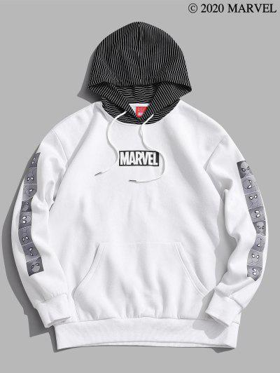 Marvel Spider-Man Print Striped Fleece Hoodie - White 2xl