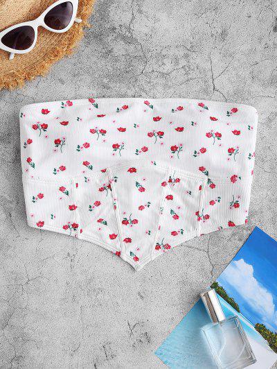 ZAFUL Haut De Bikini Bandeau Côtelé Fleuri Imprimé - Blanc S