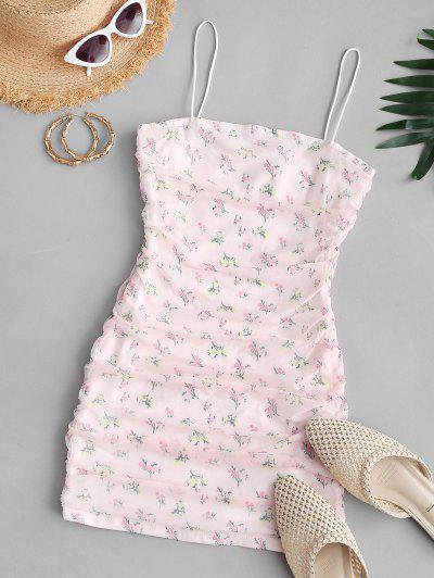 Vestido Con Cinturón Con Malla Insertada En Forma De Flor - Rosa Claro L