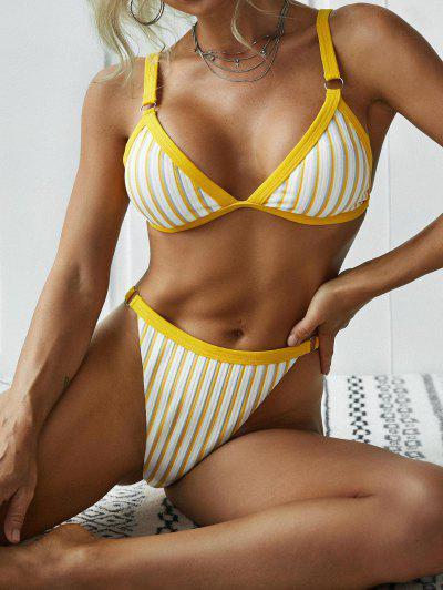 ZAFUL Textured Ribbed Striped Binding High Cut Bikini Swimwear - Yellow L