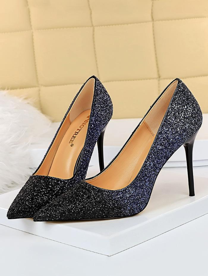 zaful Gradient Glitter Stiletto Heel Shoes