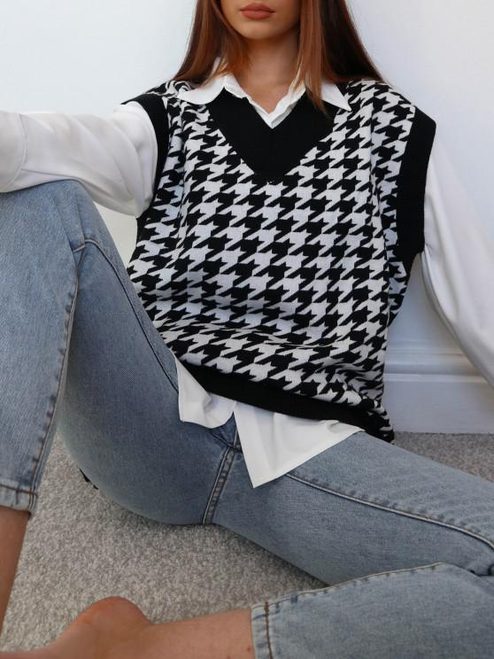 unique Houndstooth Stepped Hem Sweater Vest - BLACK M