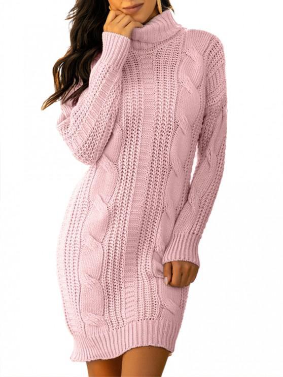 Turtleneck Cable Knit Chunky Sweater Dress - وردي فاتح حجم واحد