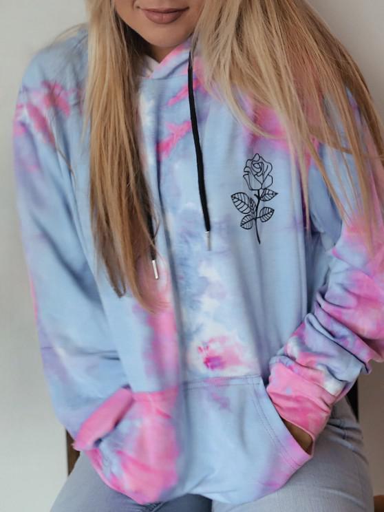 sale Flower Tie Dye Drop Shoulder Pullover Hoodie - MULTI S