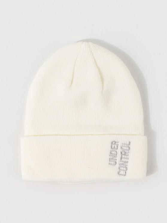 ladies Knitted Embroidery Letter Pattern Hat - MILK WHITE