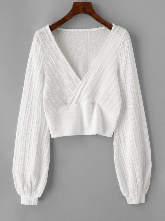 ladies Cable Knit Surplice Cropped Knitwear - WHITE L