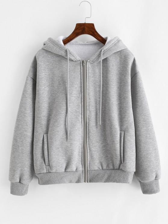 Heathered Zip Up Fleece Hoodie - اللون الرمادي XS