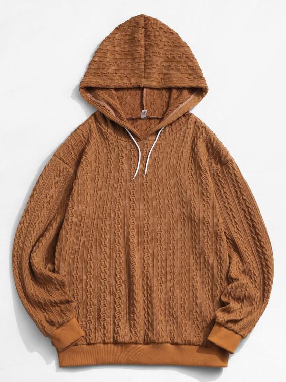 fashion ZAFUL Drawstring Jacquard Hoodie Sweater - COFFEE M