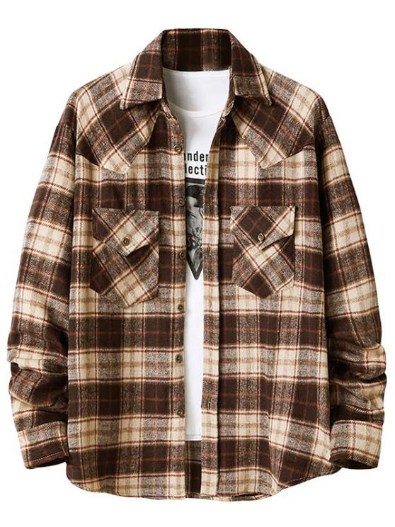 fashion Plaid Pattern Double Pockets Flannel Shirt - CAMEL BROWN XL