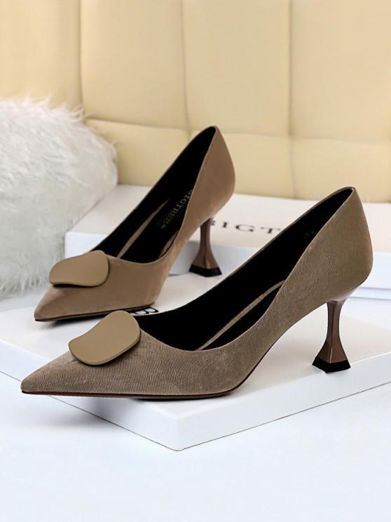 womens Retro Kitten Heel Slip On Shoes - KHAKI EU 38