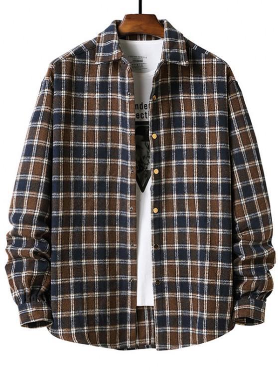 shops Long Sleeve Plaid Pattern Flannel Shirt - DEEP COFFEE XL
