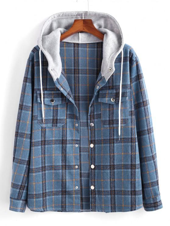 Plaid Pattern Colorblock Hooded Shirt Jacket - أزرق L