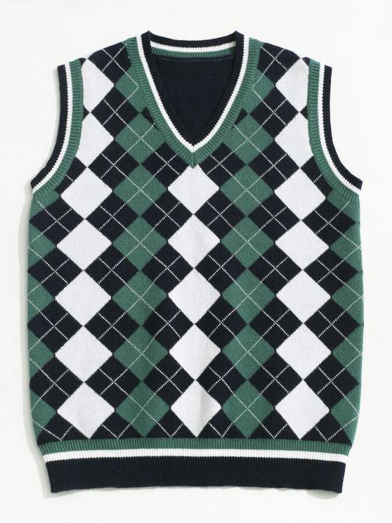 ZAFUL V Neck Contrast Argyle Sweater Vest - ازرق غامق M