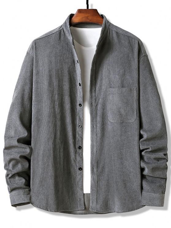 Camisa de Veludo Cotelê com Botões - Cinzento L