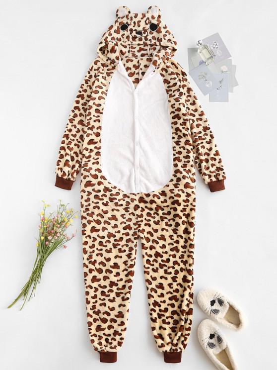 latest Fluffy Fleece Animal Leopard Onesie Pajamas - COFFEE S