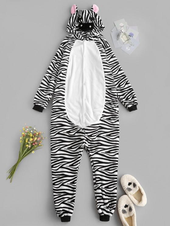 fancy Fluffy Button Front Fleece Zebra Onesie Pajamas - BLACK S