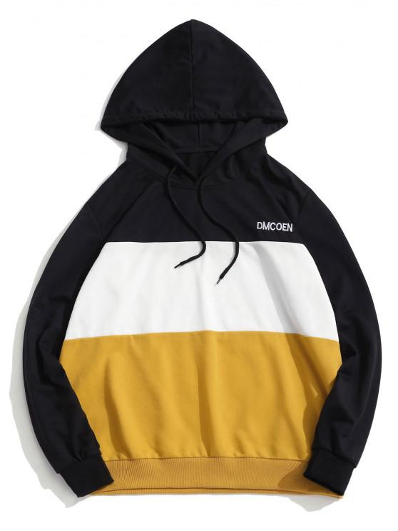 ZAFUL Letter Embroidered Contrast Hoodie - الأصفر M