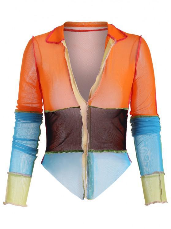 shops Exposed Seam Colorblock Sheer Mesh Tee - MULTI L