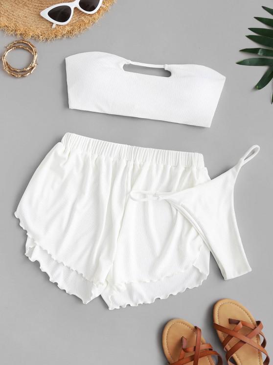 women ZAFUL Ribbed Keyhole Bandeau Three Piece Bikini Swimsuit - WHITE M