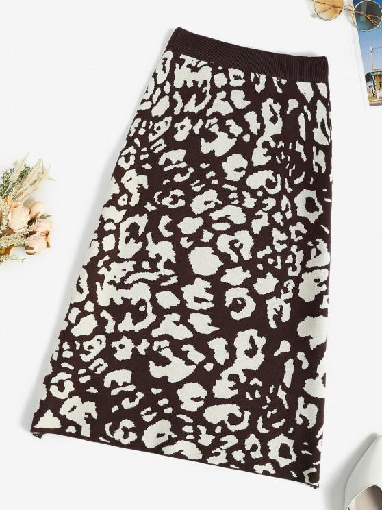 outfits Leopard Knit Sheath Midi Skirt - MULTI-A ONE SIZE
