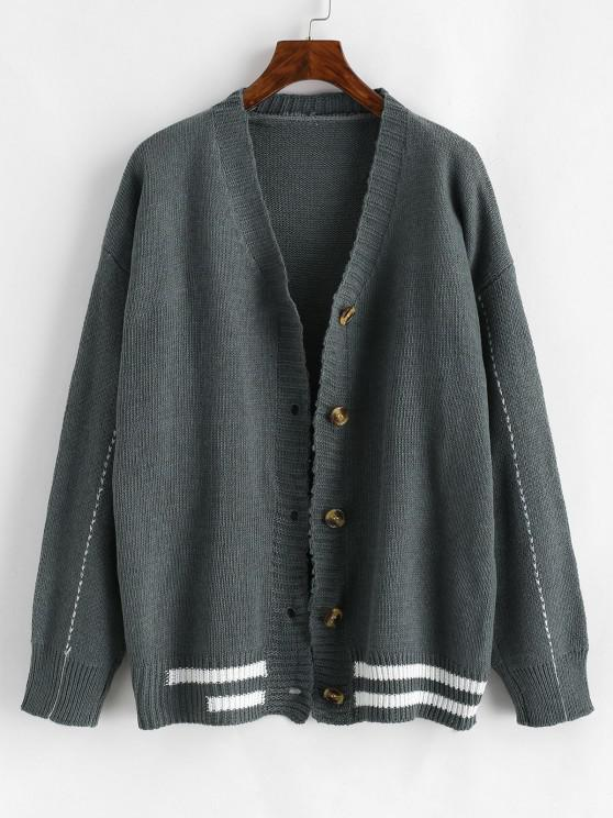 buy Button Up Contrast Striped Cardigan - GRAY ONE SIZE