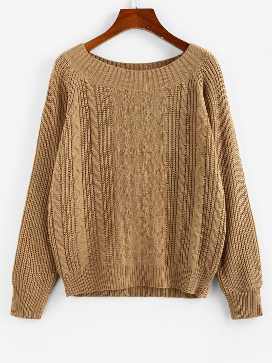 best ZAFUL Cable Knit Raglan Sleeve Ribbed Trim Sweater - COFFEE S