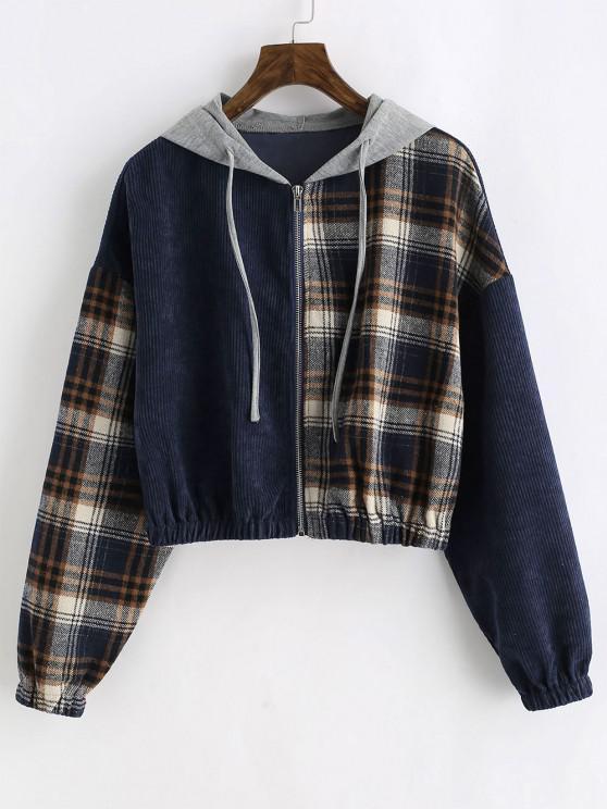 trendy ZAFUL Zip Up Plaid Corduroy Combo Jacket - DEEP BLUE XL