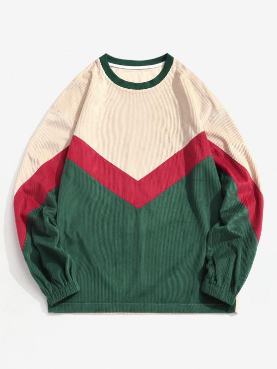 Sudadera Cuello Redondo Estampado Chevron Color Bloque - Multicolor 2XL