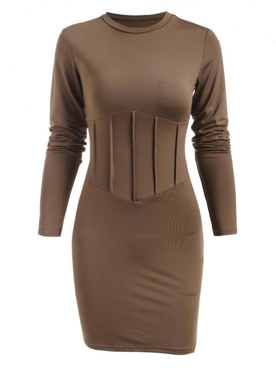 Solid Long Sleeve Pintuck Slinky Dress - قهوة M