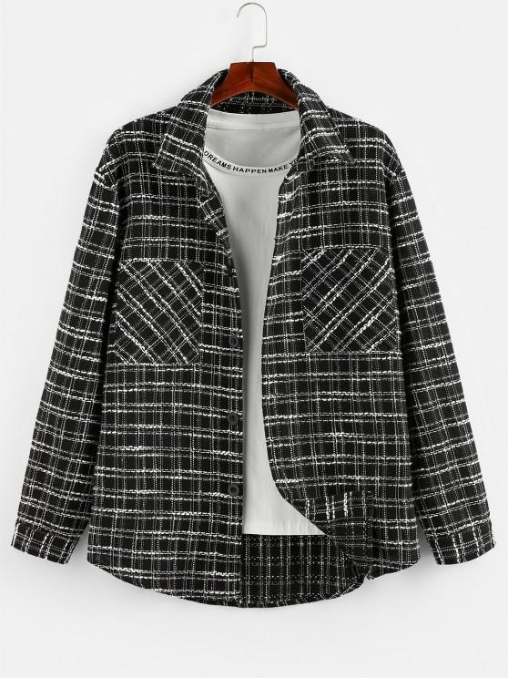 fashion ZAFUL Button Up Plaid Print Curved Hem Shirt - BLACK M