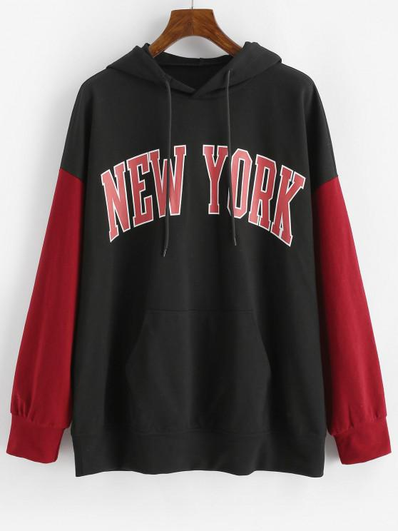 outfits ZAFUL Front Pocket Graphic Colorblock Hoodie - BLACK S