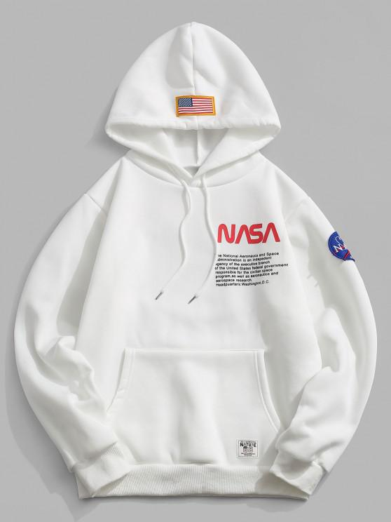 latest Letter Text Print Embroidered Applique Fleece Hoodie - WHITE 2XL