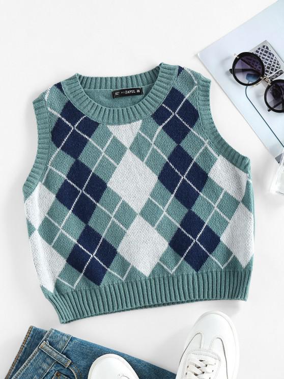 lady ZAFUL Argyle Rib Trim Crop Sweater Vest - LIGHT GREEN S