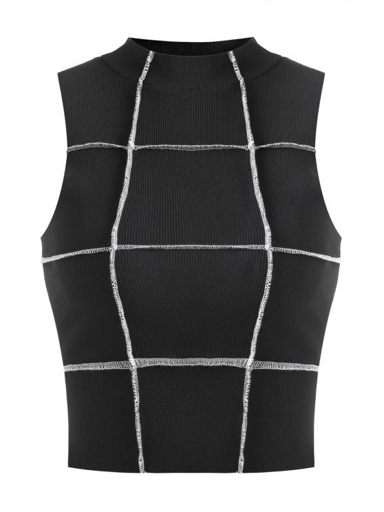 latest Cropped Exposed Seam Ribbed Tank Top - BLACK S