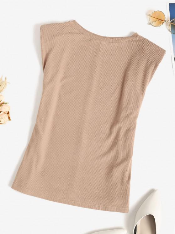 shop Shoulder Pad Rib-knit Tank Top - LIGHT COFFEE XL