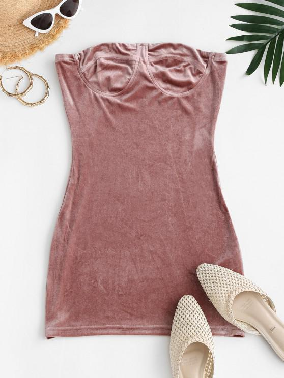 affordable Mini Velvet Tube Dress - LIGHT PINK S