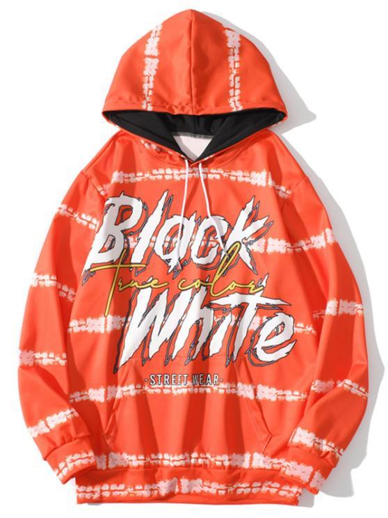 women Front Pocket Black White Letter Print Hoodie - HALLOWEEN ORANGE M
