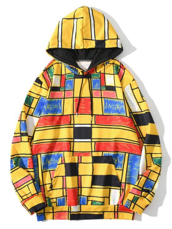Jersey Sudadera con Capucha Cordón Ajustable Diseño Geométrico Bolsillo - Amarillo Brillante 3XL