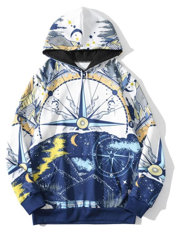 chic Nautical Moon Pattern Hoodie - COBALT BLUE L