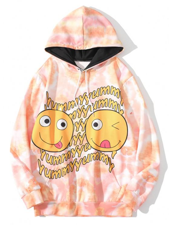 Funny Yummy Face Print Tie Dye Hoodie - ساندي براون XL