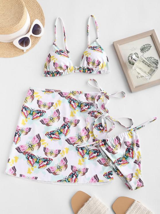 online ZAFUL Cami Butterfly Print Three Piece String Bikini Swimwear - WHITE L
