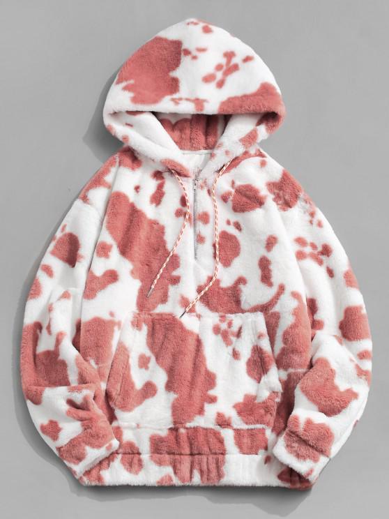 Cow Pattern Fluffy Half Zipper Hoodie - ضوء المرجان XL