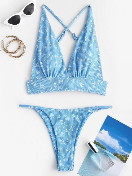 ZAFUL Blumen Gerippte Kreuzer und Querer Bikini Badebekleidung - Hellblau S