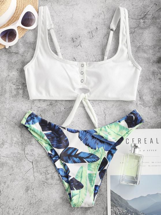 ZAFUL Ribbed Tropical Leaf Knot Tank Bikini Swimwear - أبيض M