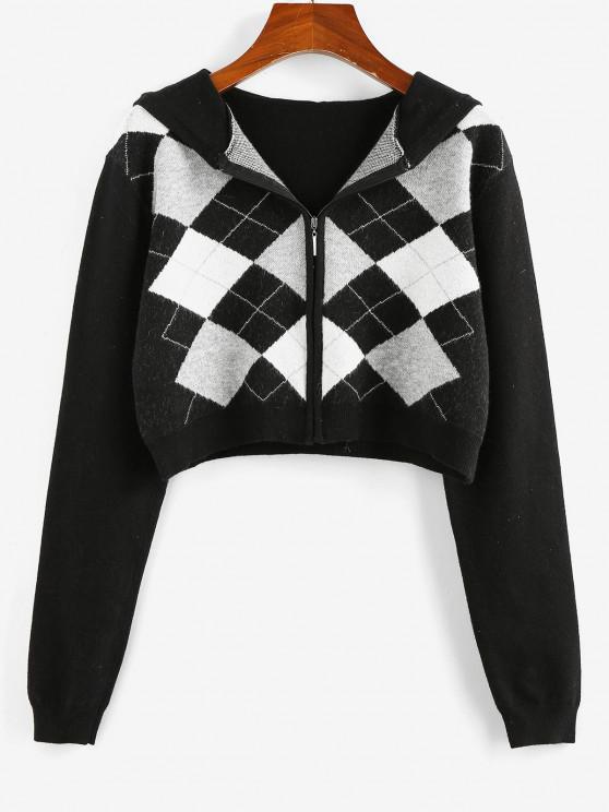 trendy ZAFUL Plaid Hooded Zip Up Crop Cardigan - BLACK S