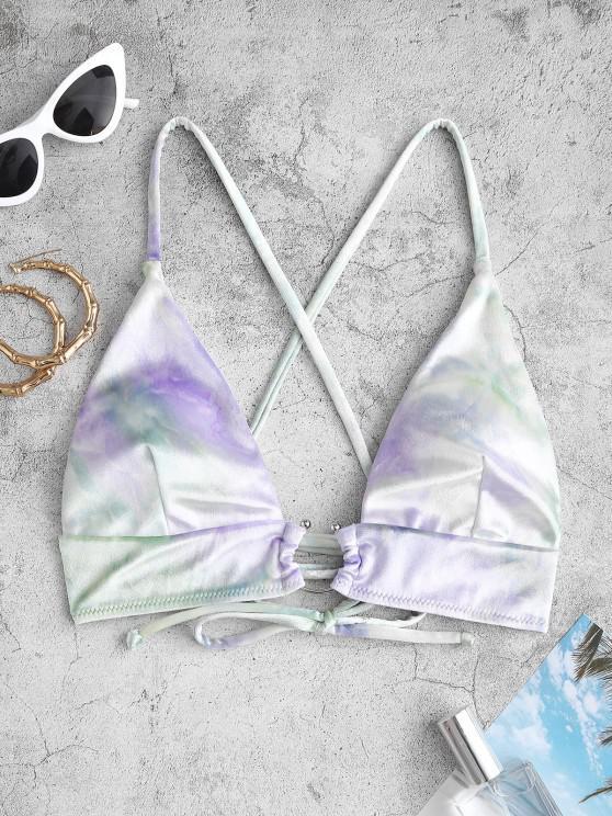 fashion ZAFUL Lace Up Tie Dye Velvet Criss Cross Bikini Top - LIGHT GREEN L