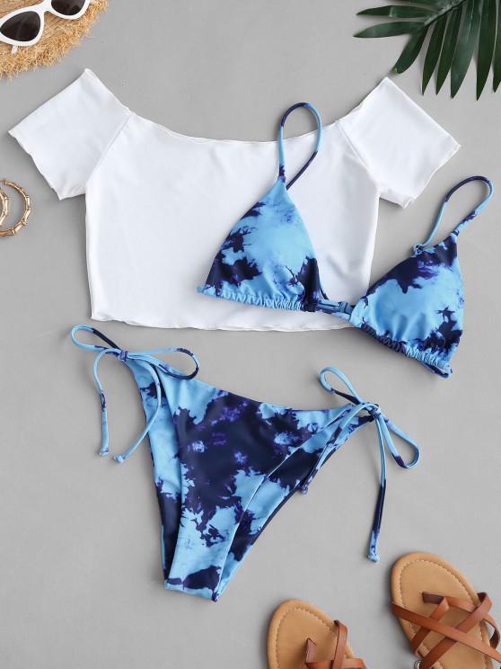 chic ZAFUL Tie Dye Tanga Three Piece String Bikini Swimwear - BLUE L
