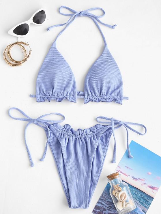 ZAFUL Bikini con Nudo Lateral con Textura - Azul claro M