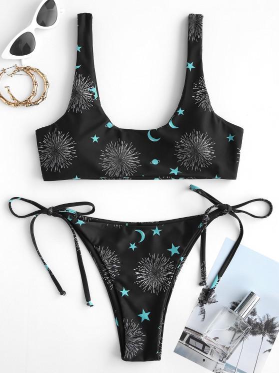 ZAFUL Stern Mond Feuerwerk Bikini Badebekleidung mit Seitlicher Krawatte - Schwarz S