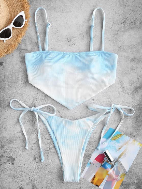 ZAFUL Cloud Tie Dye Ribbed Tied Tanga Bikini Swimwear - أزرق فاتح S
